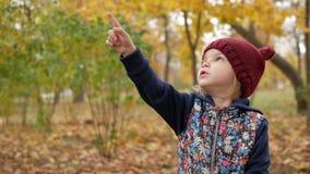Het meisje toont haar vinger in de hemel in het park in de herfst stock video
