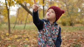 Het meisje toont haar vinger in de hemel in het park in de herfst stock footage