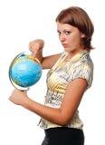 Het meisje toont op de bol stock afbeeldingen