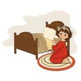 Het meisje treft voor slaap voorbereidingen stock illustratie