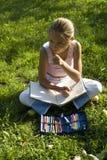 Het meisje trekt op een weide V Royalty-vrije Stock Afbeeldingen