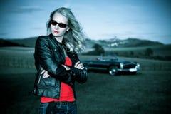 Het meisje van Cabrio Stock Afbeelding
