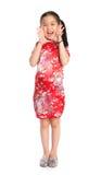 Het meisje van China het schreeuwen Gelukkige Chinese Nieuw Royalty-vrije Stock Afbeelding