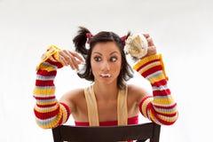 Het meisje van Cupcake Stock Afbeeldingen