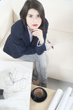 Het meisje van de architect het werken Stock Fotografie