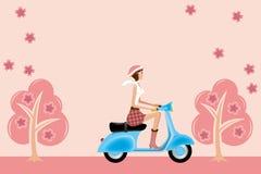 Het meisje van de autoped op kersenbloesems Stock Afbeeldingen