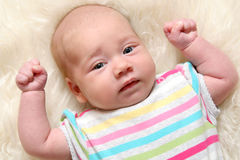 Het meisje van de baby (1.5 maanden) Royalty-vrije Stock Foto's