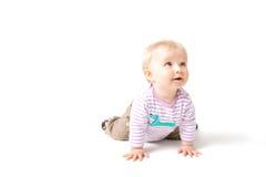 Het meisje van de baby dat op wit wordt geïsoleerdÀ Stock Afbeelding