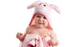 Het Meisje van de baby dat in Roze Slepen wordt verpakt Stock Foto