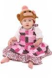 Het Meisje van de baby in de Gebreide Hoed van de Aap Royalty-vrije Stock Afbeeldingen