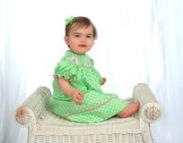 Het Meisje van de baby in de Kleding van de Stip stock foto
