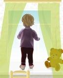 Het meisje van de baby door het venster Stock Fotografie