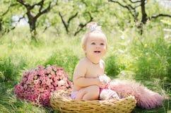 Het meisje van de baby in een mand Royalty-vrije Stock Foto
