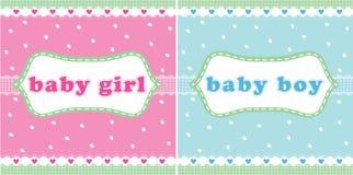 Het meisje van de baby en de kaart van de babyjongen Stock Fotografie