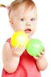Het meisje van de baby het spelen stock foto
