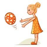 Het meisje van de baby het spelen met bal Royalty-vrije Stock Afbeelding