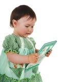 Het meisje van de baby met boek royalty-vrije stock afbeeldingen