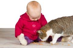 Het meisje van de baby met de familiekat Stock Afbeelding