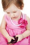 Het Meisje van de baby met de Telefoon van de Cel royalty-vrije stock afbeeldingen