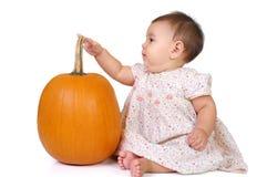 Het meisje van de baby met een pompoen royalty-vrije stock foto