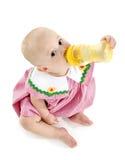 Het Meisje van de baby met Fles royalty-vrije stock foto's