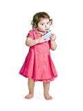 Het meisje van de baby met sap stock afbeelding
