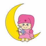 Het meisje van de baby op de maan Stock Fotografie