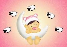 Het meisje van de baby op de maan Stock Foto