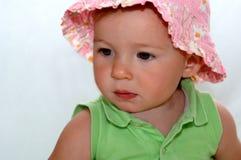 Het meisje van de baby in sunhat Stock Fotografie