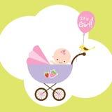 Het Meisje van de baby in Wandelwagen stock illustratie