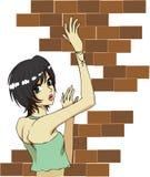 Het meisje van de baksteen Stock Afbeeldingen