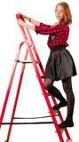 Het meisje van de Beaytifultiener in geruite rok stock afbeelding