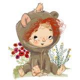 Het meisje van de beeldverhaalbaby met rode gekrulde haren vector illustratie