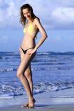 Het meisje van de bikini het stellen op het strand Stock Foto