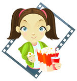 Het meisje van de bioskoop Stock Foto