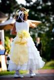 Het meisje van de bloem bij een huwelijk Stock Foto