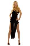 Het meisje van de blonde in avondjurk Stock Foto's