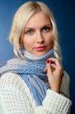Het meisje van de blonde in de winterkleren Stock Afbeelding