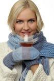 Het meisje van de blonde in de winterkleren Royalty-vrije Stock Fotografie