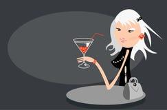 Het meisje van de blonde in koffie Stock Afbeelding