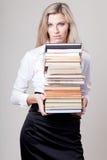 Het meisje van de blonde met boeken Stock Foto
