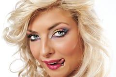 Het meisje van de blonde met colorfullmake-up Royalty-vrije Stock Fotografie