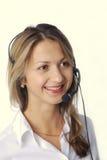Het meisje van de blonde met hoofdtelefoon Stock Foto's