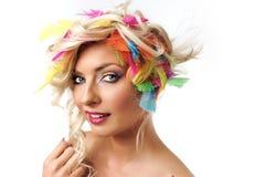 Het meisje van de blonde met veren Royalty-vrije Stock Foto