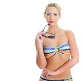 Het meisje van de blonde met zonnebril Royalty-vrije Stock Foto