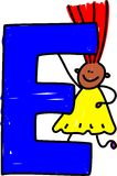 Het meisje van de brief E Stock Afbeeldingen