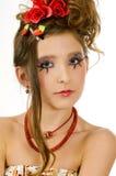 Het meisje van de close-up met oogmake-up Stock Afbeeldingen