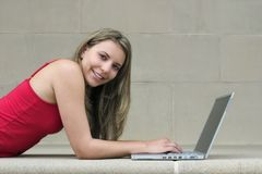 Het Meisje van de computer Royalty-vrije Stock Foto's