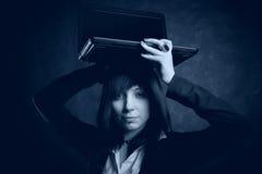Het meisje van de computer Stock Foto's