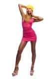 Het meisje van de de stijlmanier van de disco Stock Fotografie